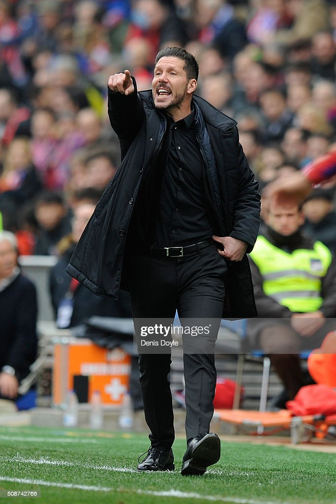 Manager <a gi-track='captionPersonalityLinkClicked' href=/galleries/search?phrase=Diego+Simeone&family=editorial&specificpeople=226872 ng-click='$event.stopPropagation()'>Diego Simeone</a> of Club Atletico de Madrid urges on his team during the La Liga match between Club Atletico de Madrid and SD Eibar at Vicente Calderon Stadium on February 6, 2016 in Madrid, Spain.
