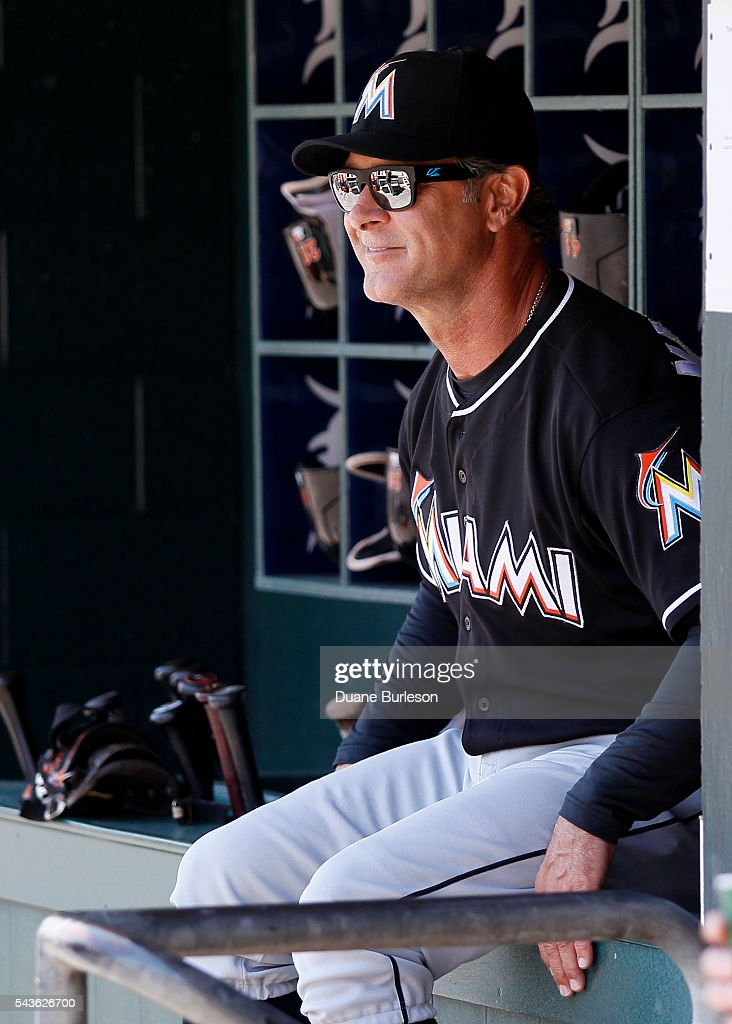 Manager <a gi-track='captionPersonalityLinkClicked' href=/galleries/search?phrase=Don+Mattingly&family=editorial&specificpeople=204707 ng-click='$event.stopPropagation()'>Don Mattingly</a> #8 of the Miami Marlins watches their game against the Detroit Tigers from the dugout during the second inning at Comerica Park on June 29, 2016 in Detroit, Michigan.