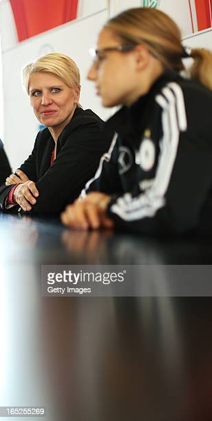 Manager Doris Fitschen and Babett Peter of Germany attend a press conference at the DFB headquarter on April 2 2013 in Frankfurt am Main Germany