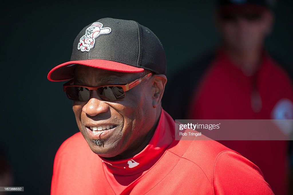 Manager Dusty Baker of the Cincinnati Reds looks on before the game against the Cleveland Indians at Goodyear Ballpark on February 22, 2013 in Goodyear, Arizona.