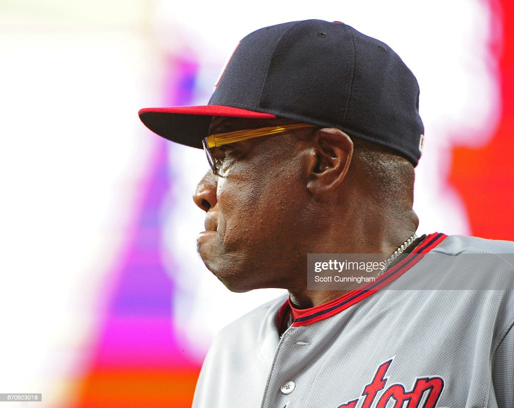 Manager Dusty Baker #12 of the Washington Nationals heads back to the dugout after an eighth inning pitching change against the Atlanta Braves at SunTrust Park on April 20, 2017 in Atlanta, Georgia.