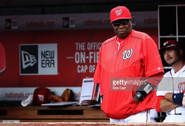 Manager Dusty Baker of the Washington Nationals looks on against the Miami Marlins during the Nationals home opener at Nationals Park on April 7 2016...