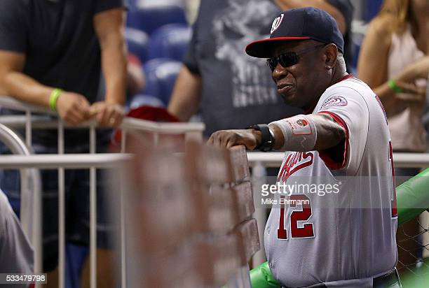 Manager Dusty Baker of the Washington Nationals looks on during a game against the Miami Marlins at Marlins Park on May 22 2016 in Miami Florida