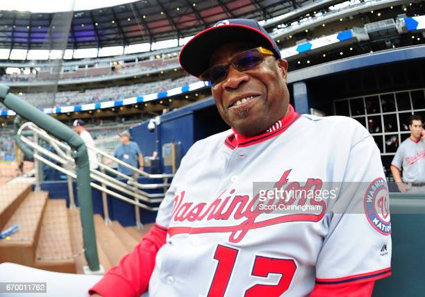 Manager Dusty Baker of the Washington Nationals relaxes in the dugout before the game against the Atlanta Braves at SunTrust Park on April 18 2017 in...