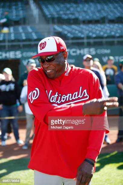 Manager Dusty Baker of the Washington Nationals stands on the field prior to the game against the Oakland Athletics at the Oakland Alameda Coliseum...