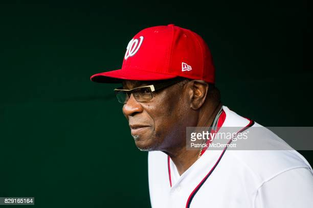 Manager Dusty Baker of the Washington Nationals walks out of the clubhouse before a game against the Miami Marlins at Nationals Park on August 9 2017...