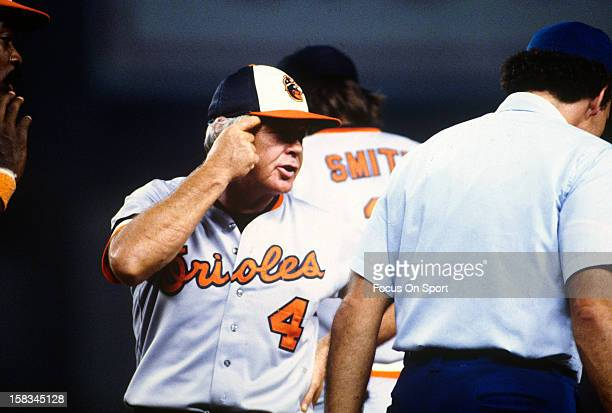 Manager Earl Weaver of the Baltimore Orioles argues with a umpire during an Major League Baseball game circa 1982 at Memorial Stadium in Baltimore...