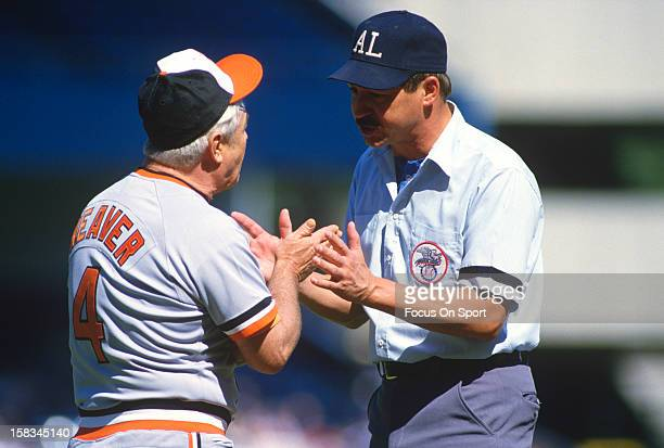 Manager Earl Weaver of the Baltimore Orioles argues with an umpire during a Major League Baseball game circa 1982 Weaver managed the Orioles from...