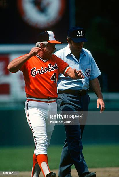 Manager Earl Weaver of the Baltimore Orioles argues with an umpire during an Major League Baseball game circa 1980 at Memorial Stadium in Baltimore...