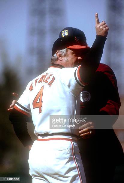 Manager Earl Weaver of the Baltimore Orioles argues with the umpire during an MLB baseball game circa 1977 at Memorial Stadium in Baltimore Maryland...