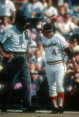 Manager Earl Weaver of the Baltimore Orioles argues with the umpire during an MLB baseball game circa 1982 at Memorial Stadium in Baltimore Maryland...