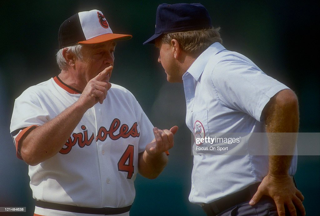 Manager Earl Weaver #4 of the Baltimore Orioles argues with the umpire during an MLB baseball game circa 1986 at Memorial Stadium in Baltimore, Maryland. Weaver managed the Orioles from 1968-82 and 1985-86.