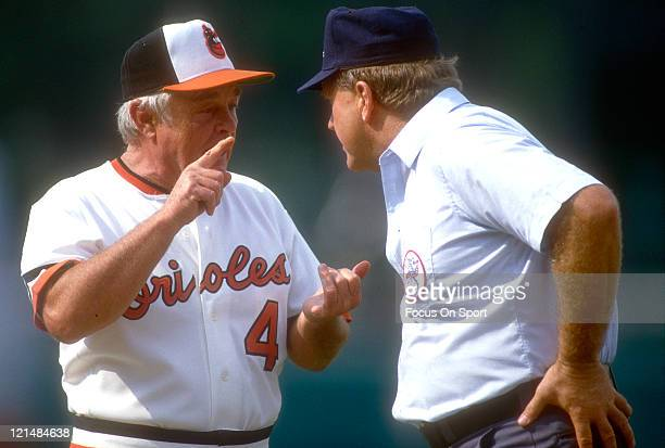 Manager Earl Weaver of the Baltimore Orioles argues with the umpire during an MLB baseball game circa 1986 at Memorial Stadium in Baltimore Maryland...