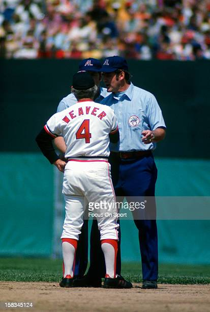 Manager Earl Weaver of the Baltimore Orioles argues with the umpires during an Major League Baseball game circa 1980 at Memorial Stadium in Baltimore...