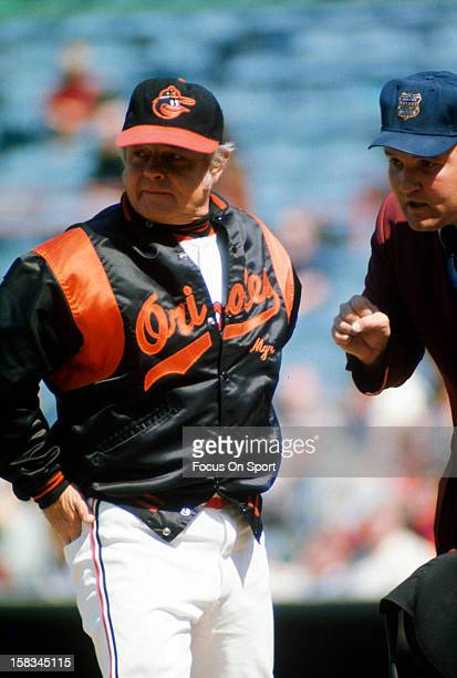 Manager Earl Weaver of the Baltimore Orioles arguing with the home plate umpire during a MLB baseball game circa mid 1978 at Memorial Stadium in...