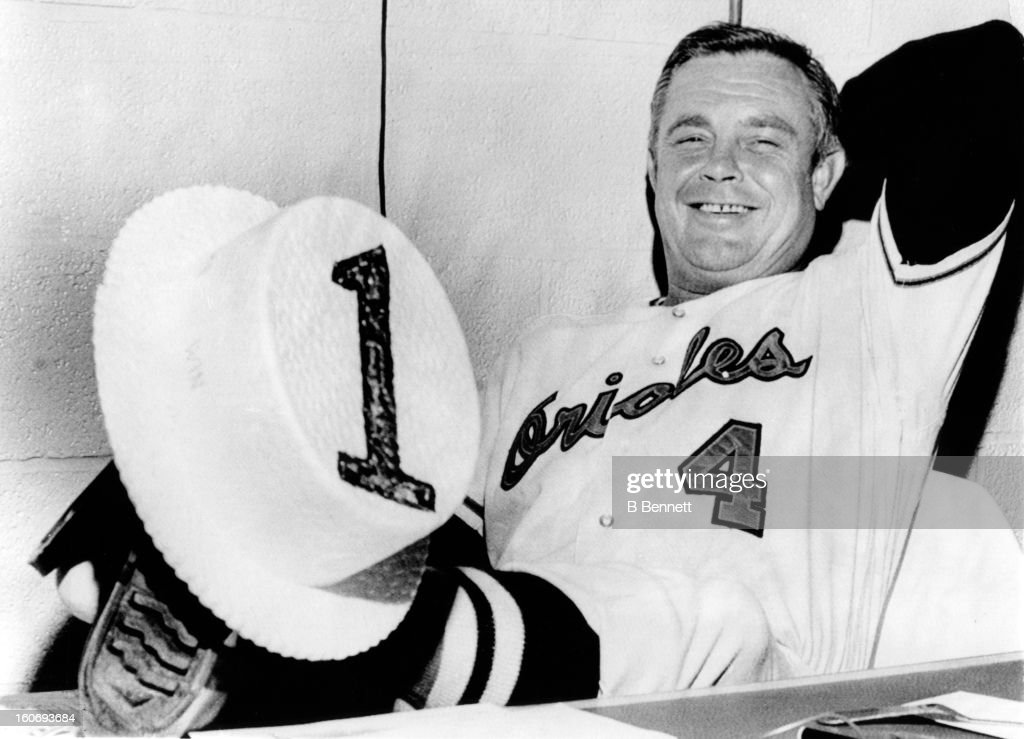 Manager <a gi-track='captionPersonalityLinkClicked' href=/galleries/search?phrase=Earl+Weaver&family=editorial&specificpeople=213180 ng-click='$event.stopPropagation()'>Earl Weaver</a> #4 of the Baltimore Orioles holds a straw hat with the number 1 on it as the Orioles would win the American League eastern division on September 13, 1969 in Baltimore, Maryland.