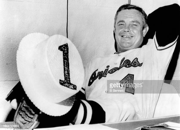 Manager Earl Weaver of the Baltimore Orioles holds a straw hat with the number 1 on it as the Orioles would win the American League eastern division...