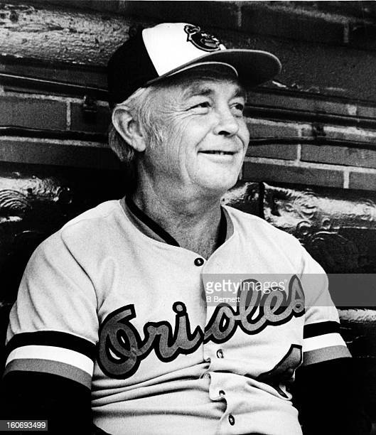 Manager Earl Weaver of the Baltimore Orioles looks on from the dugout before an MLB game on October 2 1979 at the Memorial Stadium in Baltimore...