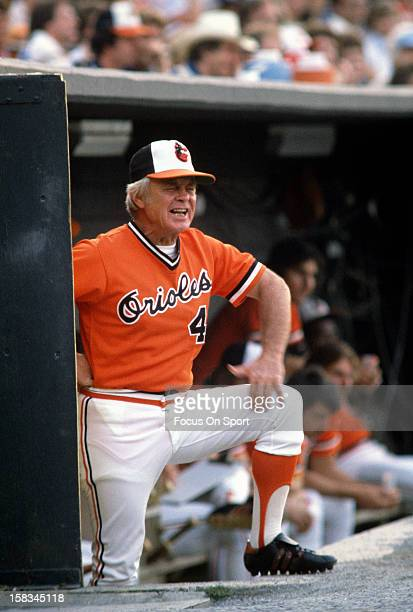 Manager Earl Weaver of the Baltimore Orioles looks on from the top of the dugout steps during an Major League Baseball game circa 1980 at Memorial...