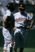 Manager Earl Weaver of the Baltimore Orioles standing on the mound with catcher Clay Dalrymple during a MLB baseball game circa 1969 Weaver Managed...