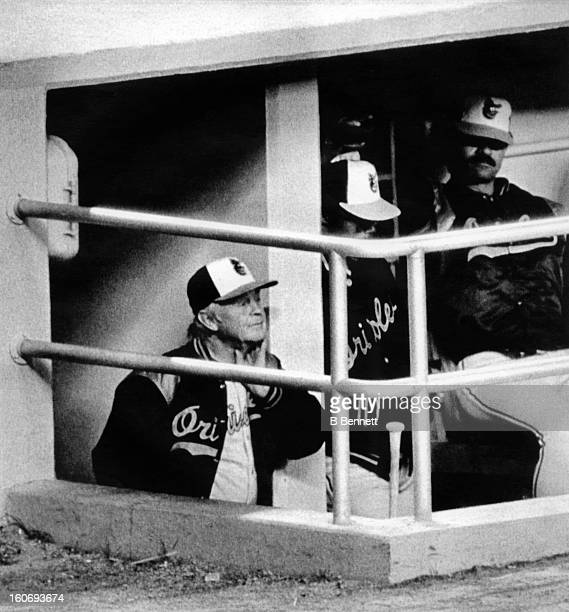 Manager Earl Weaver of the Baltimore Orioles stands in the hole of the dugout during an MLB game against the New York Yankees on September 9 1982 at...