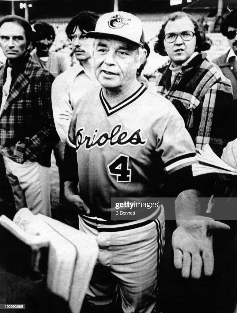 Manager <a gi-track='captionPersonalityLinkClicked' href=/galleries/search?phrase=Earl+Weaver&family=editorial&specificpeople=213180 ng-click='$event.stopPropagation()'>Earl Weaver</a> #4 of the Baltimore Orioles talks with the media before Game 1 of the 1979 World Series against the Pittsburgh Pirates on October 8, 1979 at Memorial Stadium in Baltimore, Maryland.