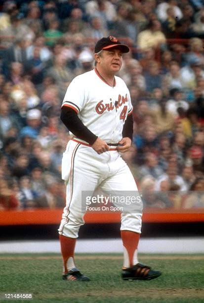 Manager Earl Weaver of the Baltimore Orioles walks out to the pitchers mound during an MLB baseball game circa 1977 at Memorial Stadium in Baltimore...