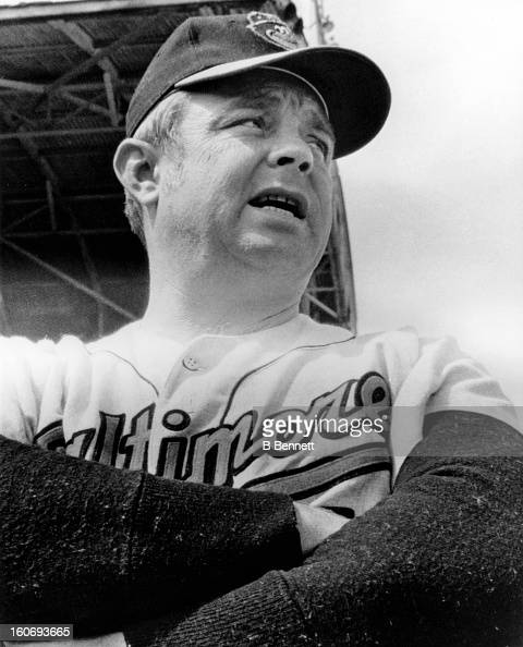 Manager Earl Weaver of the Baltimore Orioles watches his team working out during spring training on March 3 1970 at McKechnie Field in Bradenton...