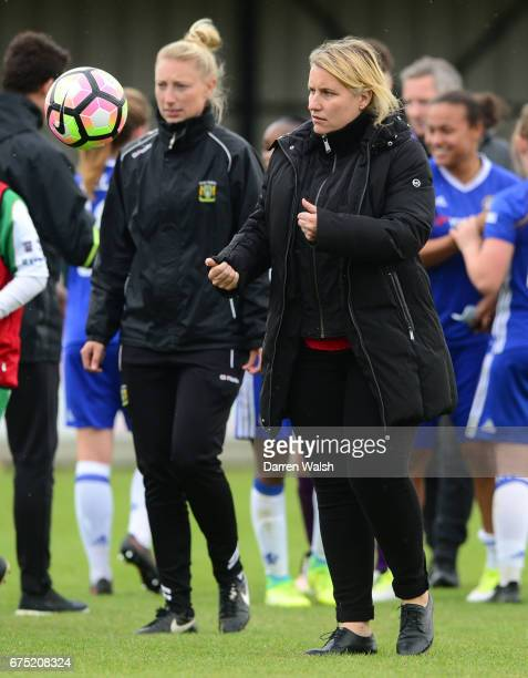 Manager Emma Hayes of Chelsea after the FA WSL 1 match between Chelsea Ladies and Yeovil Town Ladies at Wheatsheaf Park on April 30 2017 in Staines...