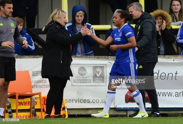 Manager Emma Hayes of Chelsea and Drew Spence of Chelsea during the FA WSL 1 match between Chelsea Ladies and Yeovil Town Ladies at Wheatsheaf Park...