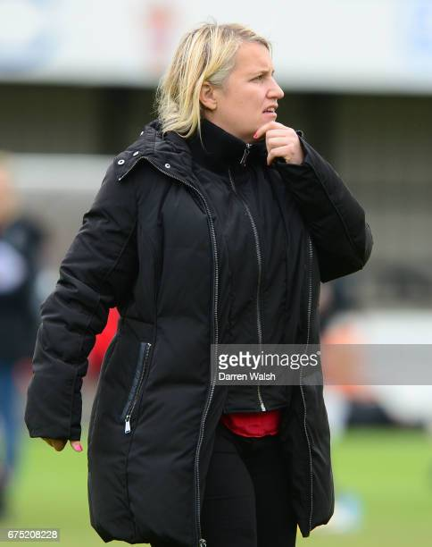 Manager Emma Hayes of Chelsea during the FA WSL 1 match between Chelsea Ladies and Yeovil Town Ladies at Wheatsheaf Park on April 30 2017 in Staines...