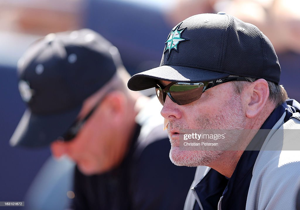 Manager <a gi-track='captionPersonalityLinkClicked' href=/galleries/search?phrase=Eric+Wedge&family=editorial&specificpeople=214257 ng-click='$event.stopPropagation()'>Eric Wedge</a> #22 of the Seattle Mariners looks on during the spring training game against the Colorado Rockies at Peoria Stadium on March 4, 2013 in Peoria, Arizona.