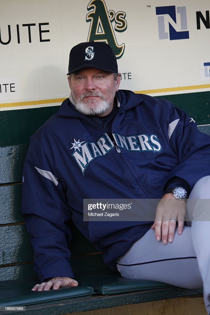 Manager <a gi-track='captionPersonalityLinkClicked' href=/galleries/search?phrase=Eric+Wedge&family=editorial&specificpeople=214257 ng-click='$event.stopPropagation()'>Eric Wedge</a> #22 of the Seattle Mariners sits in the dugout prior to the game against the Oakland Athletics at O.co Coliseum on April 2, 2013 in Oakland, California. The Mariners defeated the Athletics 7-1.