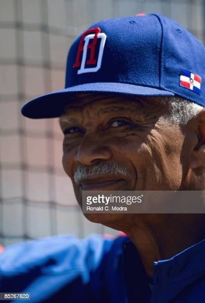 Manager Felipe Alou of the Dominican Republic during batting practice before a spring training game against the Florida Marlins at Roger Dean Stadium...