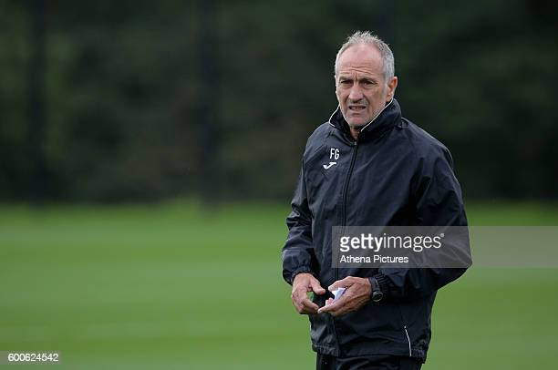 Manager Francesco Guidolin observes the training during the Swansea City FC Training at Fairwood Training Ground on September 8 2016 in Swansea Wales