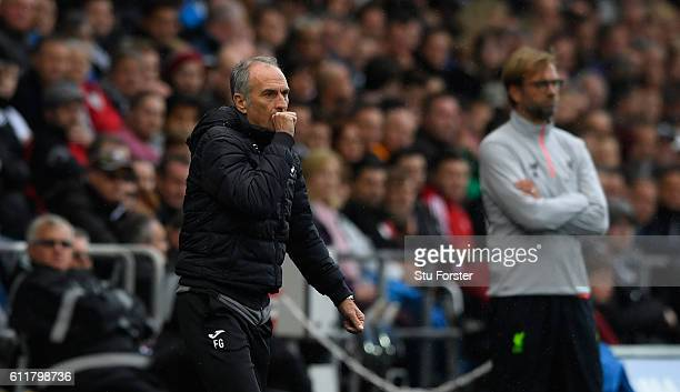 Manager Francesco Guidolin reacts during the Premier League match between Swansea City and Liverpool at Liberty Stadium on October 1 2016 in Swansea...