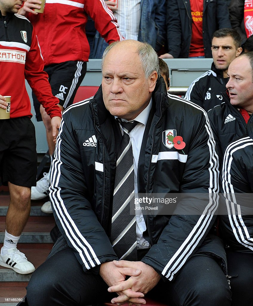 Manager Fulham <a gi-track='captionPersonalityLinkClicked' href=/galleries/search?phrase=Martin+Jol&family=editorial&specificpeople=215368 ng-click='$event.stopPropagation()'>Martin Jol</a> reacts before the Barclays Premier League Match between Liverpool and Fulham at Anfield on November 9, 2013 in Liverpool, England.