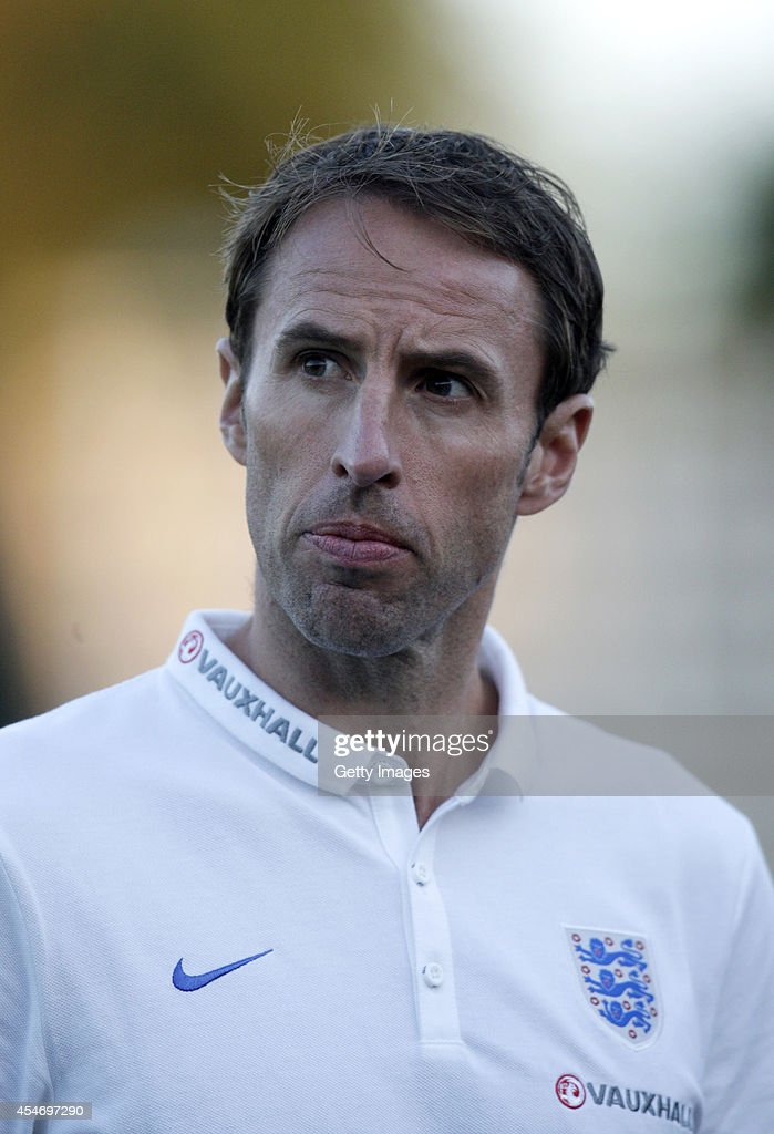 Manager Gareth Southgate of England looks on during the Lithuania v England UEFA U21 Championship Qualifier 2015 match at Dariaus ir Gireno Stadionas on September 5, 2014 in Kaunas, Lithuania.