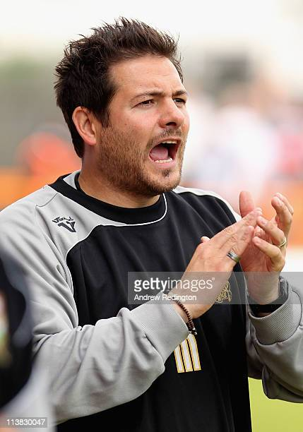 Manager Giuliano Grazioli of Barnet shouts instructions during the npower League Two match between Barnet and Port Vale at Underhill Stadium on May 7...