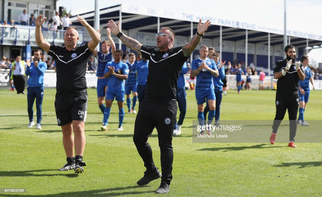 Manager Glenn Tamplin of Billericay Town and his players thank the home support during The Emirates FA Cup Qualifying First Round match between Billericay Town and Didcot Town on September 2, 2017 in Billericay, England.