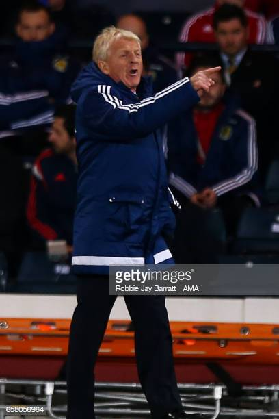 Manager Gordan Strachan of Scotland gestures during the FIFA 2018 World Cup Qualifier between Scotland and Slovenia at Hampden Park on March 26 2017...