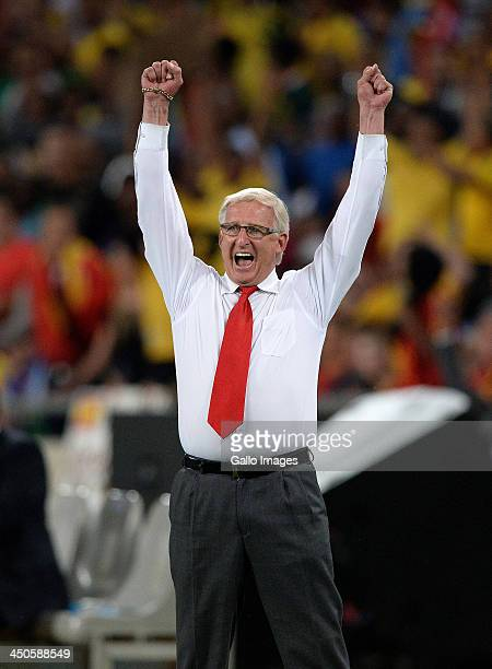 Manager Gordon Igesund of South Africa celebrates the goal of Bernard Parker during the International friendly match between South Africa and Spain...