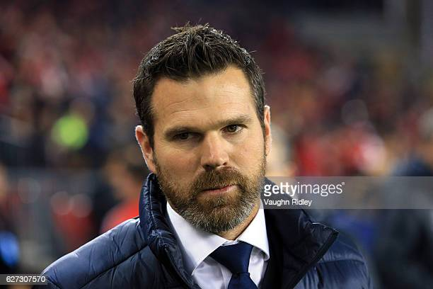 Manager Greg Vanney of Toronto FC looks on prior to the first half of the MLS Eastern Conference Final Leg 2 game against Montreal Impact at BMO...