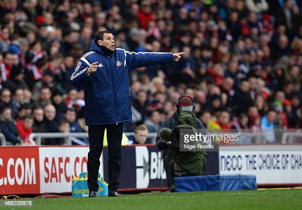 Manager Gustavo Poyet of Sunderland gives direction during the Barclays Premier League match between Sunderland and Aston Villa at Stadium of Light...
