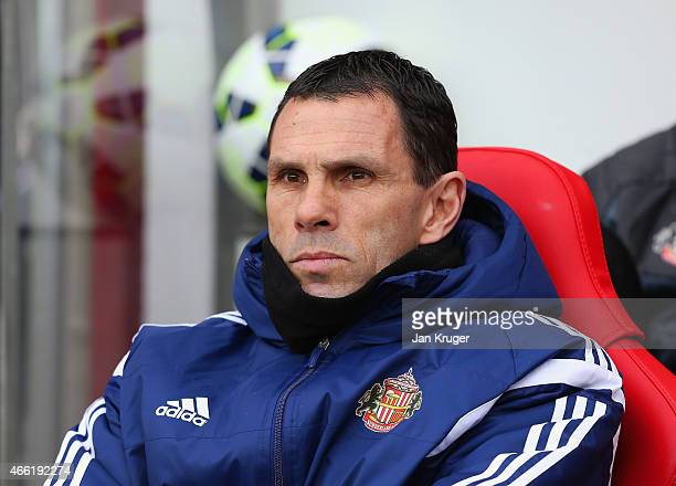 Manager Gustavo Poyet of Sunderland looks on during the Barclays Premier League match between Sunderland and Aston Villa at Stadium of Light on March...