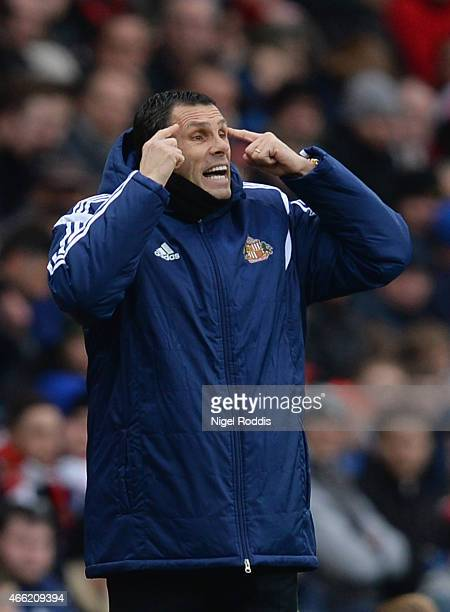 Manager Gustavo Poyet of Sunderland reacts during the Barclays Premier League match between Sunderland and Aston Villa at Stadium of Light on March...