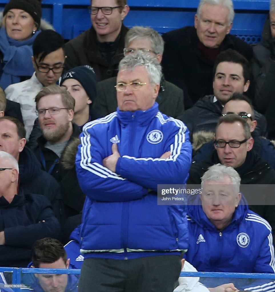 Manager <a gi-track='captionPersonalityLinkClicked' href=/galleries/search?phrase=Guus+Hiddink&family=editorial&specificpeople=214125 ng-click='$event.stopPropagation()'>Guus Hiddink</a> of Chelsea watches from the touchline during the Barclays Premier League match between Chelsea and Manchester United at Stamford Bridge on February 7 2016 in London, England.