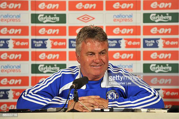 Manager Guus Hiddink talks to the press during the Chelsea Football Club Training Session held at their Cobham Training Ground on May 27 2009 in...