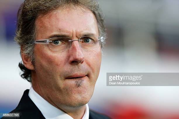 Manager / Head Coach Laurent Blanc looks on prior to the Ligue 1 match between Paris SaintGermain FC and Stade Rennais FC at Parc des Princes on May...