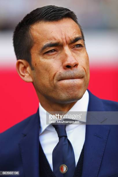 Manager / Head Coach of Feyenoord Rotterdam Giovanni van Bronckhorst looks on prior to the Dutch Eredivisie match between Ajax Amsterdam and...